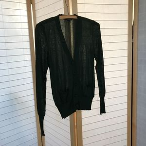 Sz M Burberry dark green silk cardiganLong sleeves